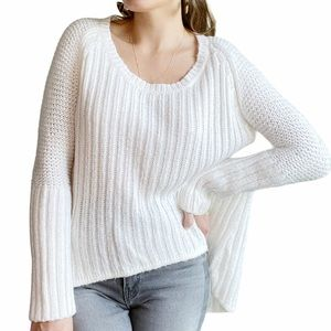 NASTY GAL White Chunky Knit High Low Sweater